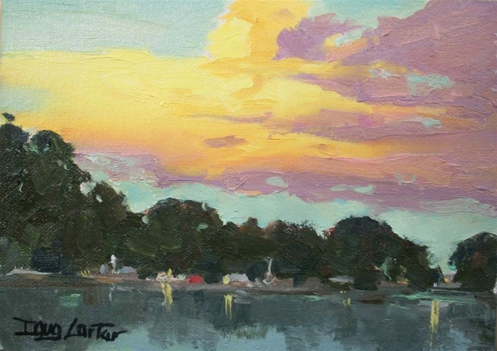 """ HARBOR SUNSET"" original fine art by Doug Carter"
