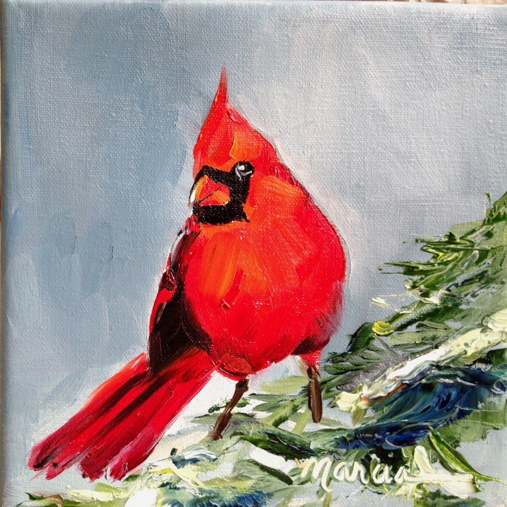 """Red Bird in the Pines"" original fine art by Marcia Hodges"