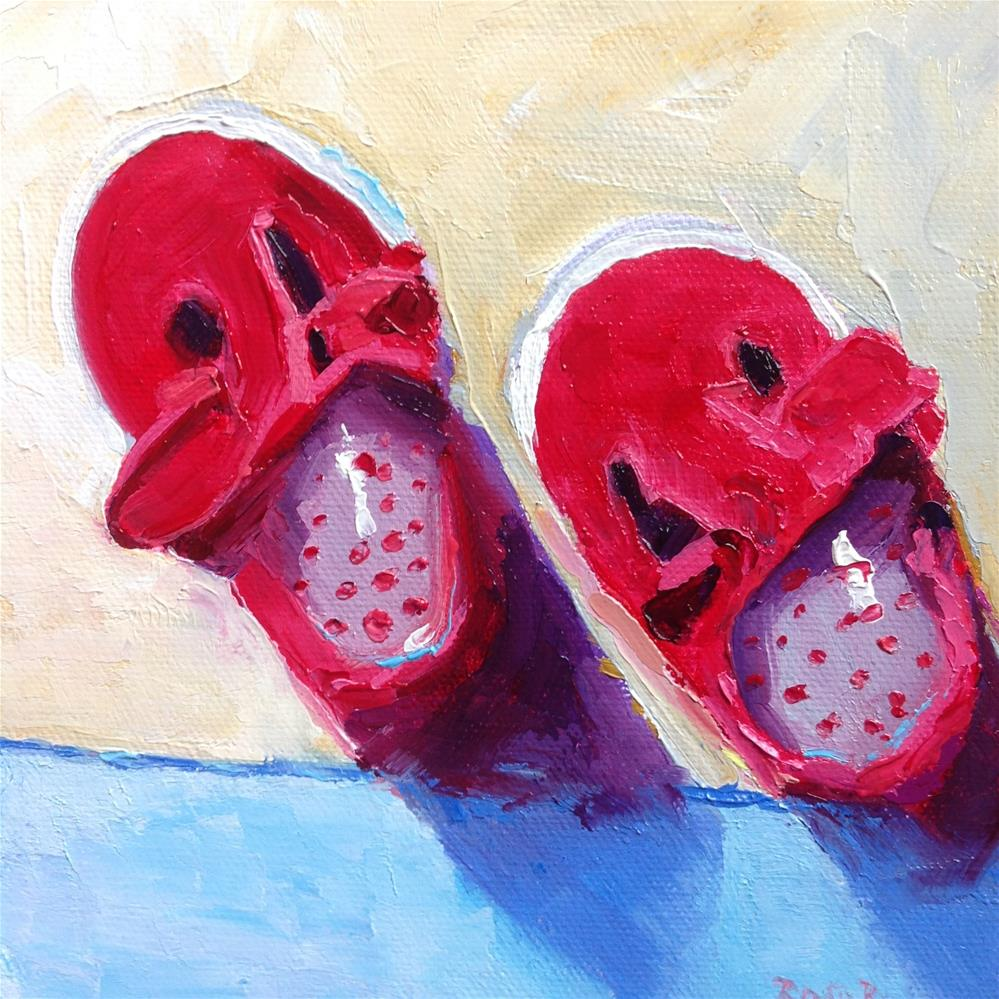 """Baby's Little Red Shoes"" original fine art by Rose Brenner"