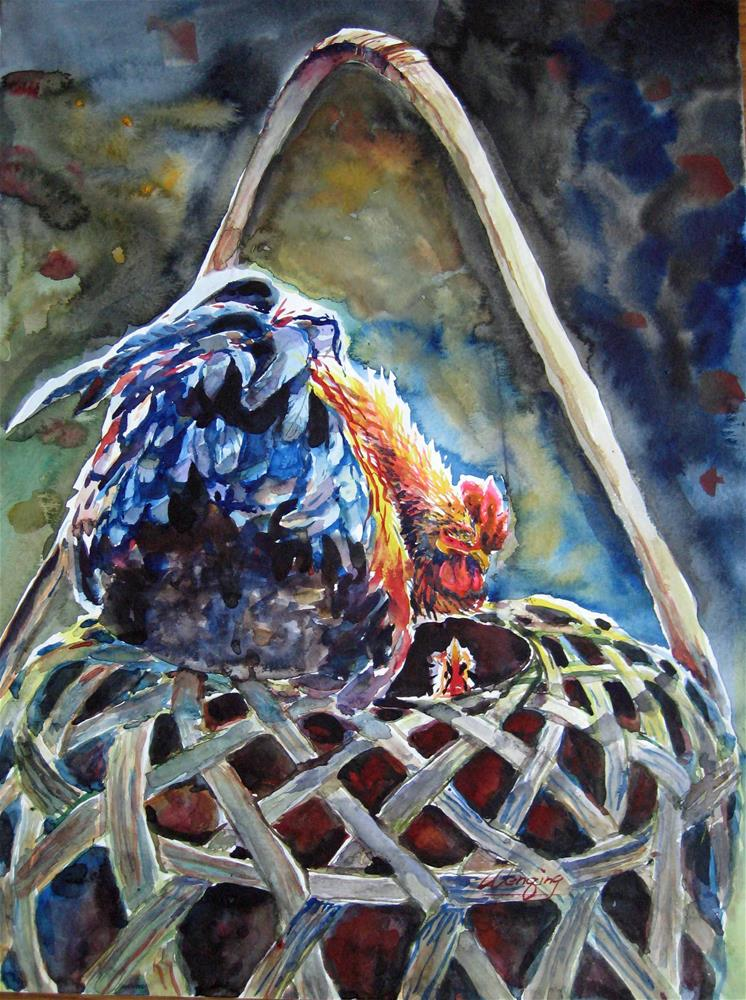 """Rooster talking"" original fine art by Wenqing Xu"