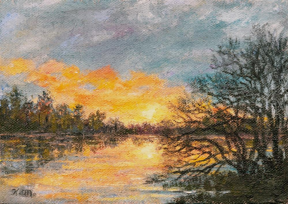 """RIVER DUSK"" original fine art by Kathleen McDermott"