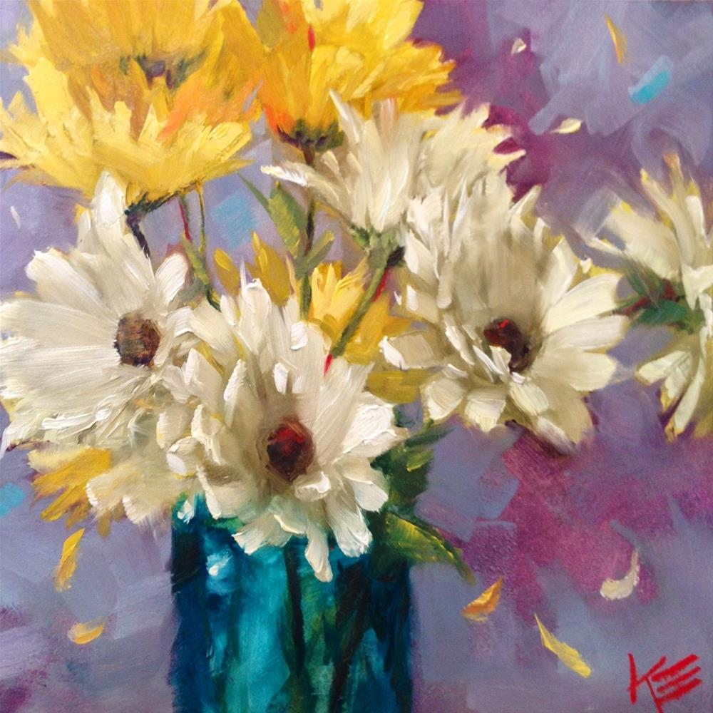 """Dancing Daisies"" original fine art by Krista Eaton"