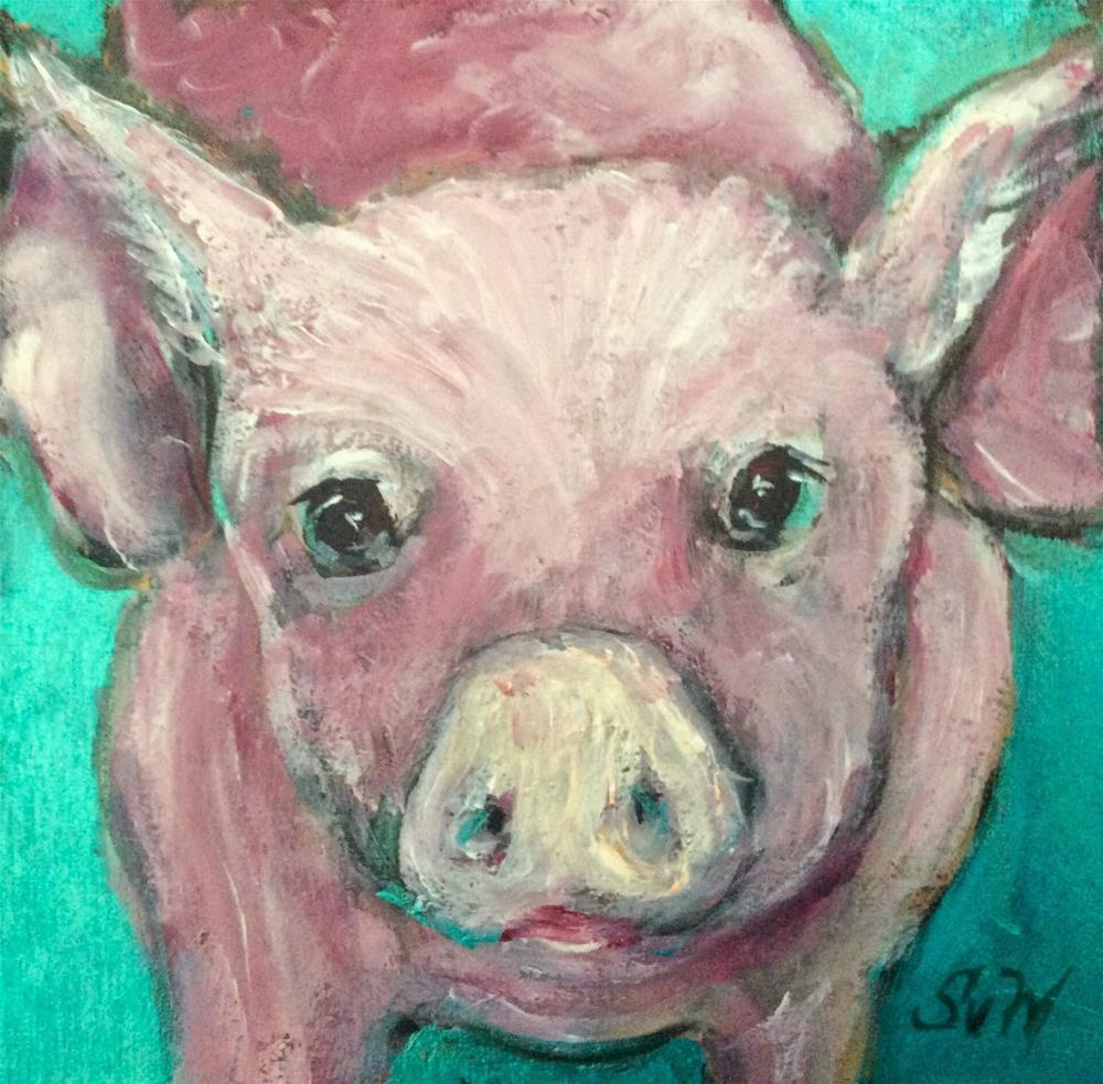 """""""Little pig painting"""" original fine art by Sonia von Walter"""