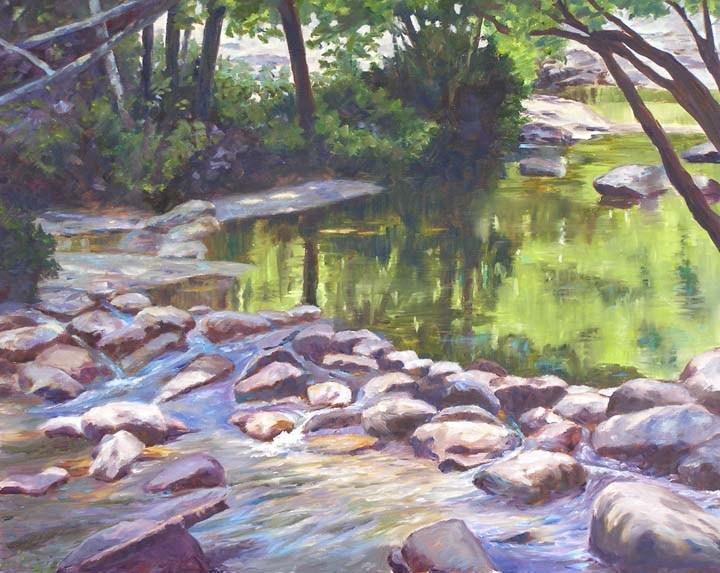 """Green Pond, 16x20 Oil on Canvas"" original fine art by Carmen Beecher"