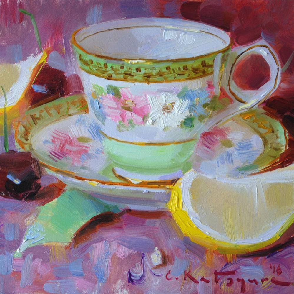 """Teacup and Lemons"" original fine art by Elena Katsyura"