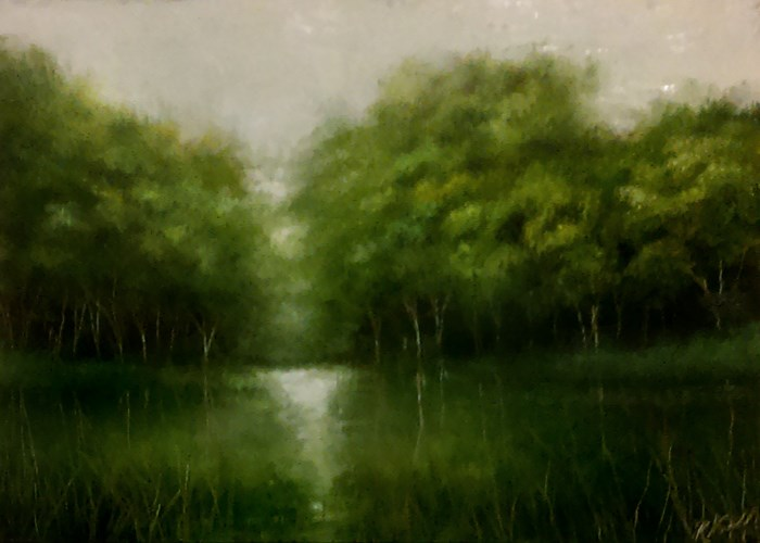 """The Lake in the Woods"" original fine art by Bob Kimball"