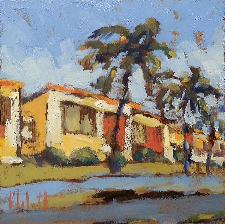 """Surf Bungalow II Palm Tree Oil Painting Contemporary Impressionism"" original fine art by Heidi Malott"