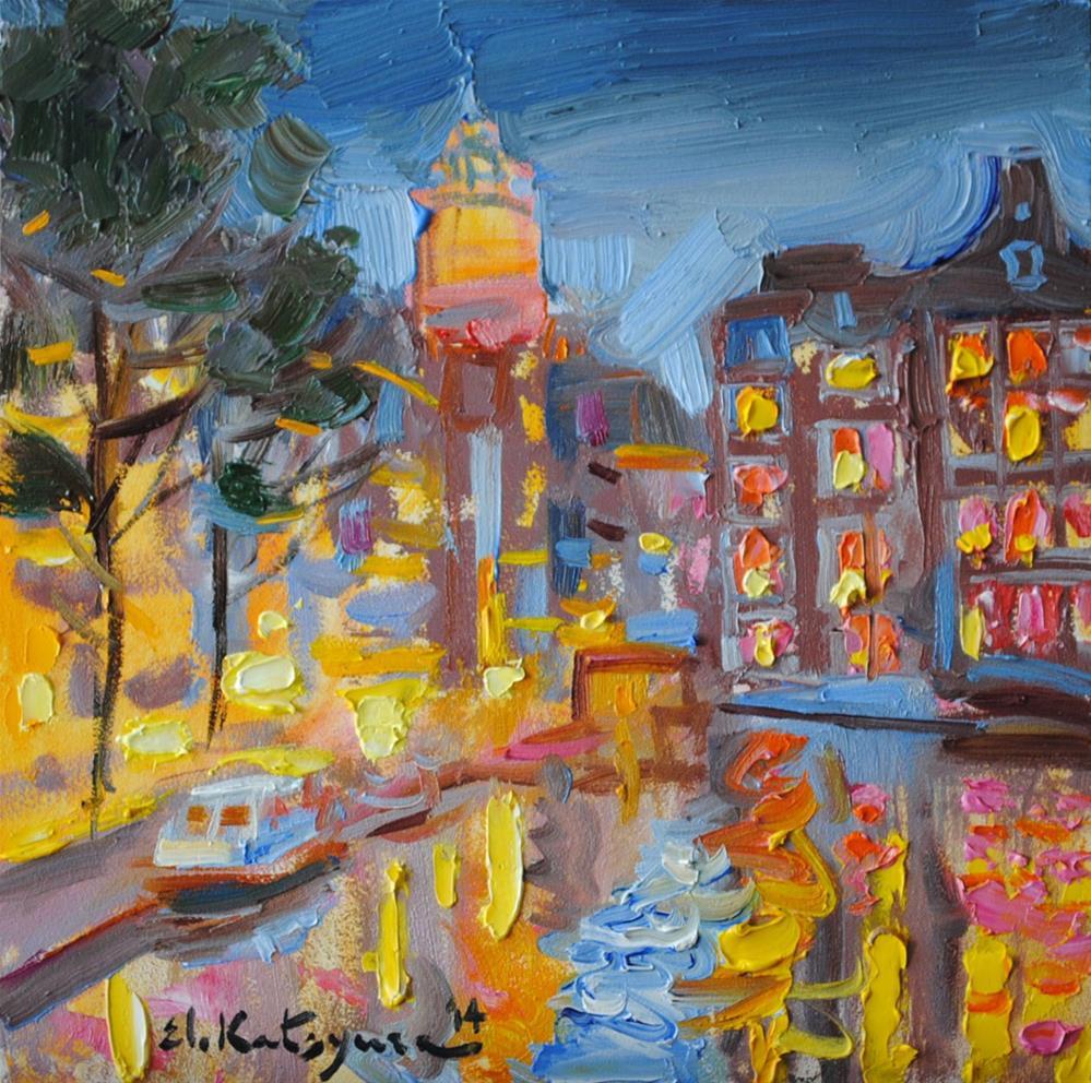 """Night Lights"" original fine art by Elena Katsyura"