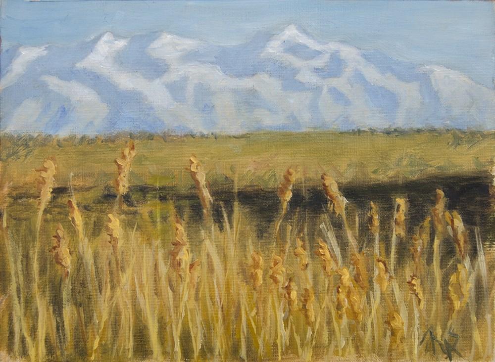 """""""Golden Grass and Mountains"""" original fine art by Rachel Steely"""