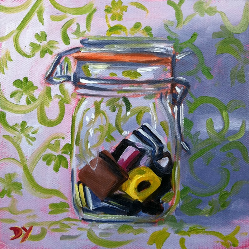 """The Remains of the Season, oil on canvas board, 6x6"" original fine art by Darlene Young"