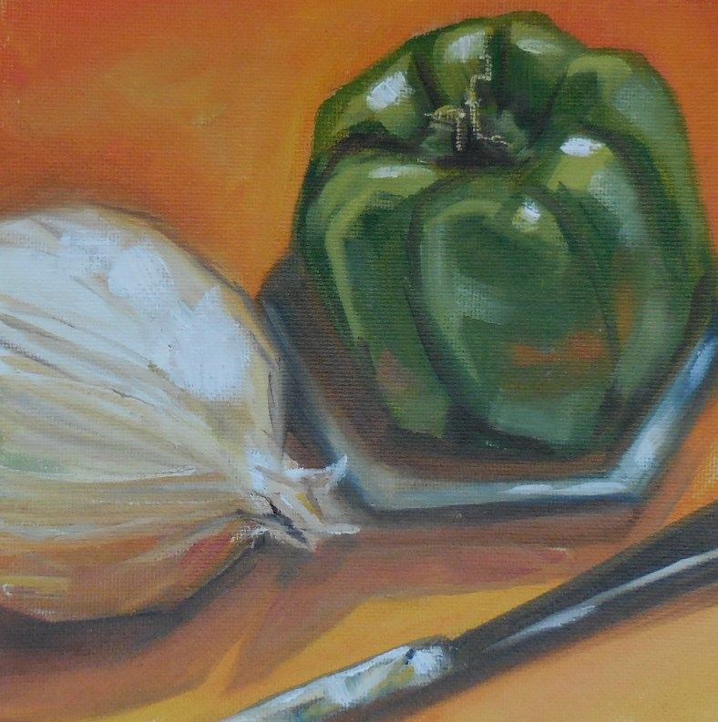 """Green Pepper Orange"" original fine art by Beth Moreau"