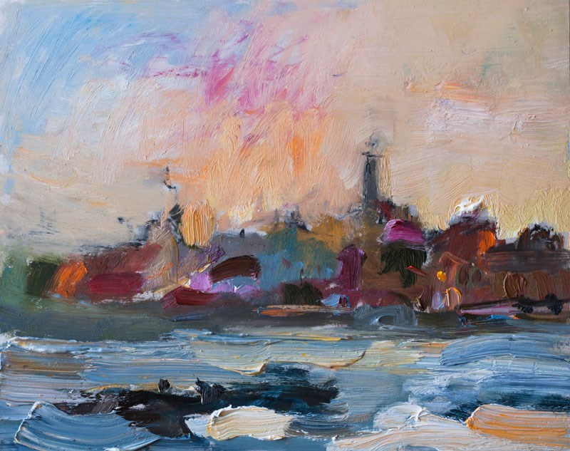 """Sunrise over the Mediterranean Sea"" original fine art by Anna  Fine Art"
