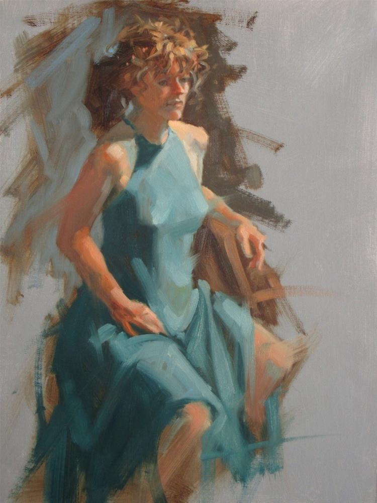 """Teal Dress  11 in x 14 in   oil"" original fine art by Claudia Hammer"