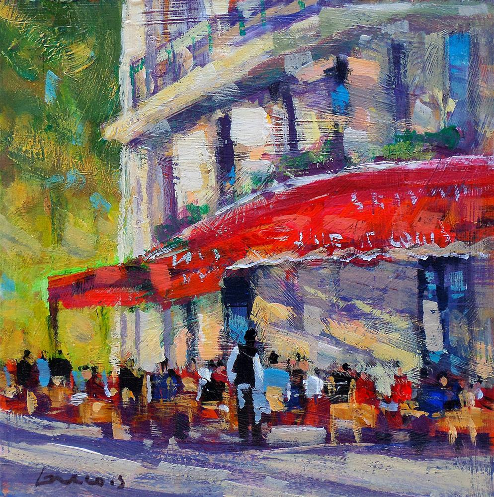 """Café l,ile st louis paris"" original fine art by salvatore greco"