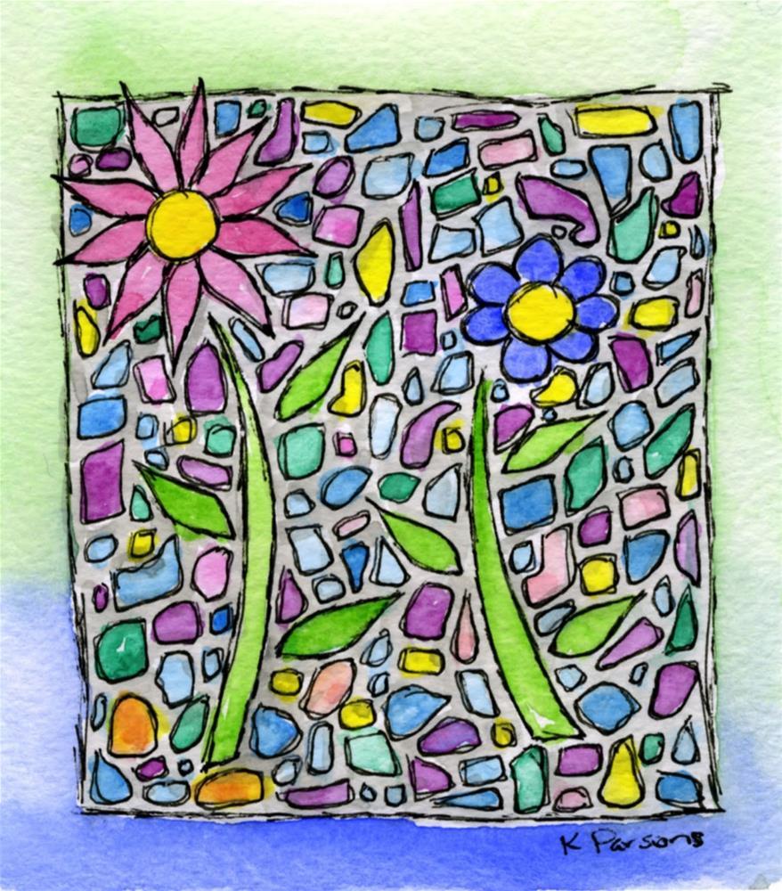 """Mosaic Flowers"" original fine art by Kali Parsons"