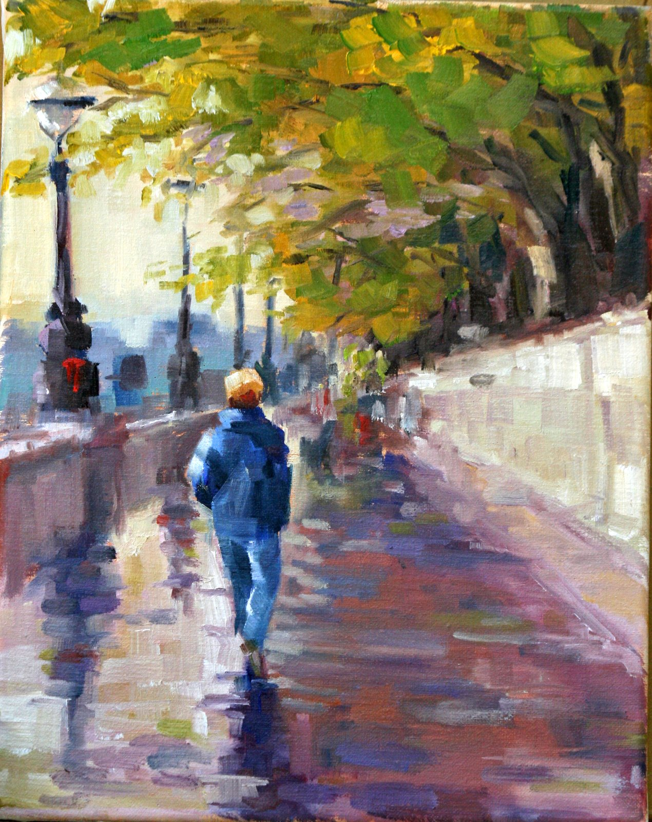 """walking by the thames"" original fine art by Carol Carmichael"