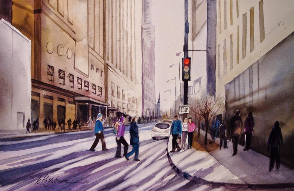 """""""Stop ! People Crossing"""" original fine art by Kathy Los-Rathburn"""