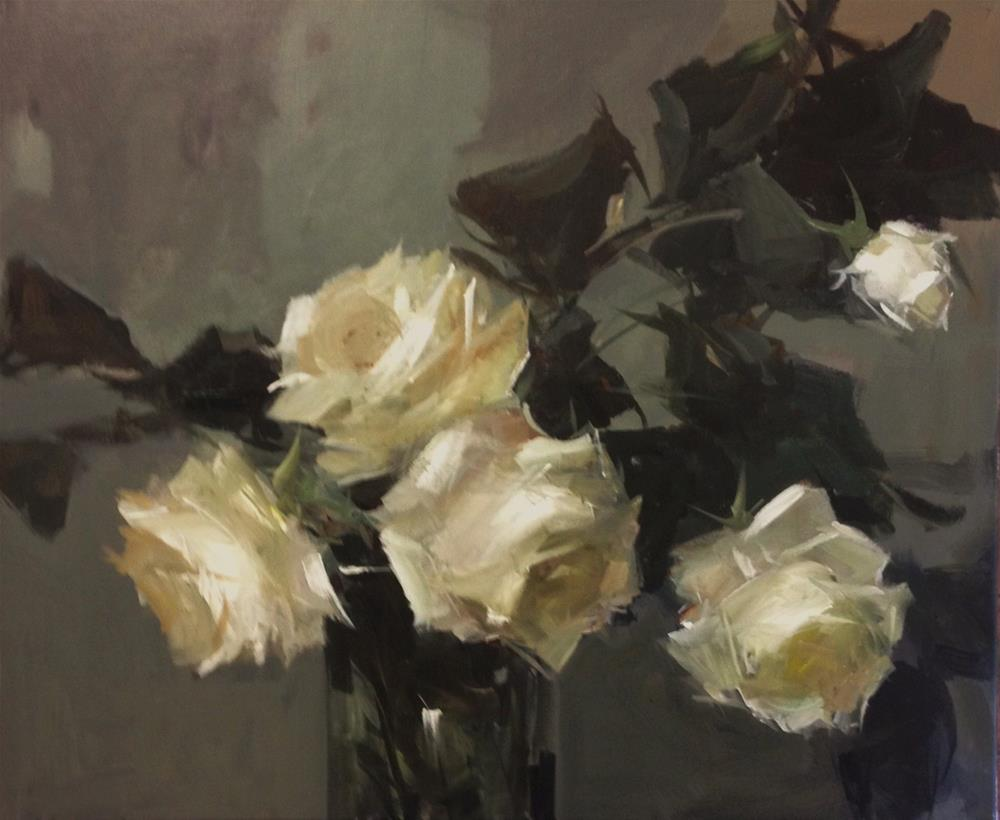 """white winter roses"" original fine art by Parastoo Ganjei"