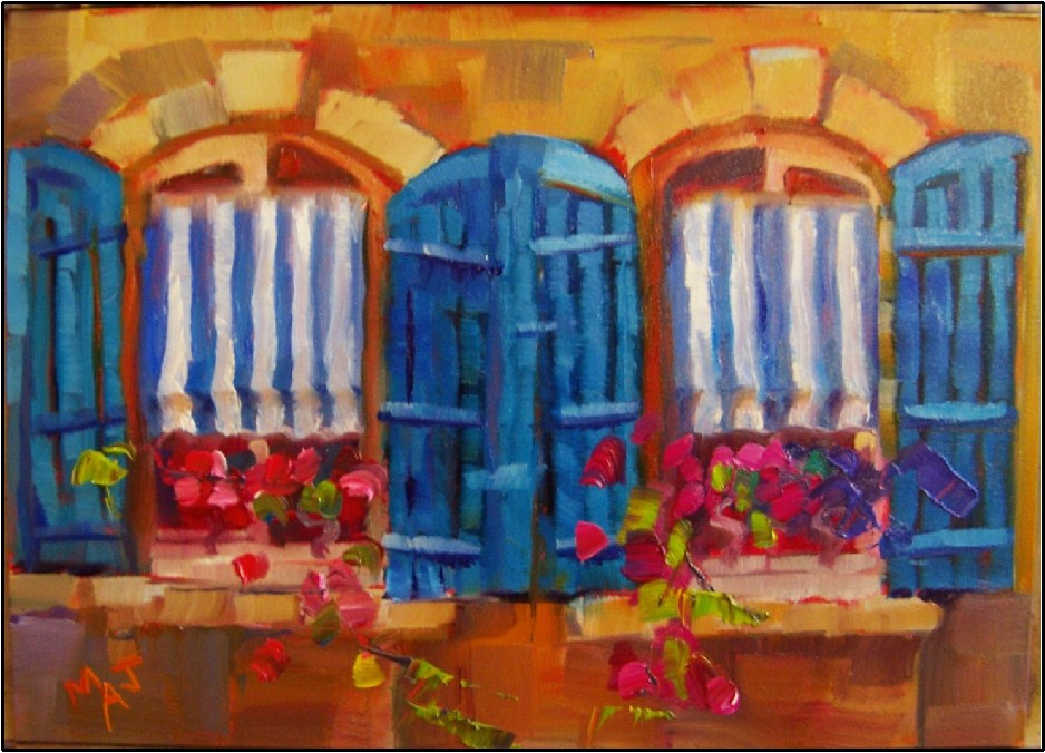 """Seeing Double in Arles, 5x7, oil on gessoboard, Provence, Arles, shutters, flowers, stripes, small"" original fine art by Maryanne Jacobsen"