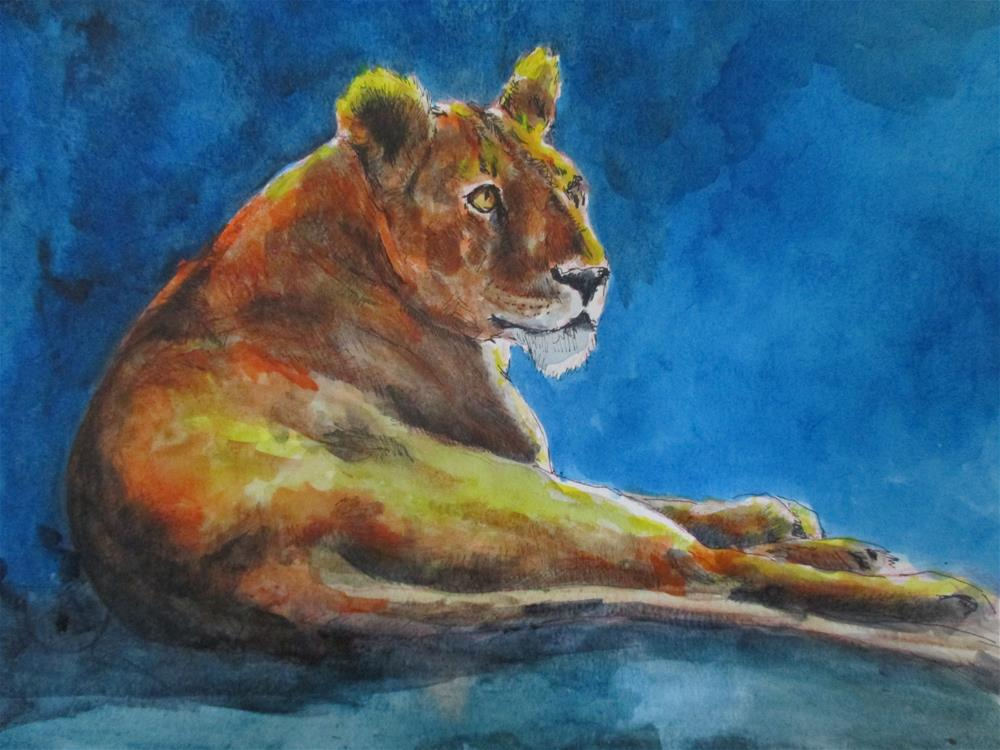 """""""The Lioness Doesn't sleep tonite"""" original fine art by Kate Less-Madsen"""