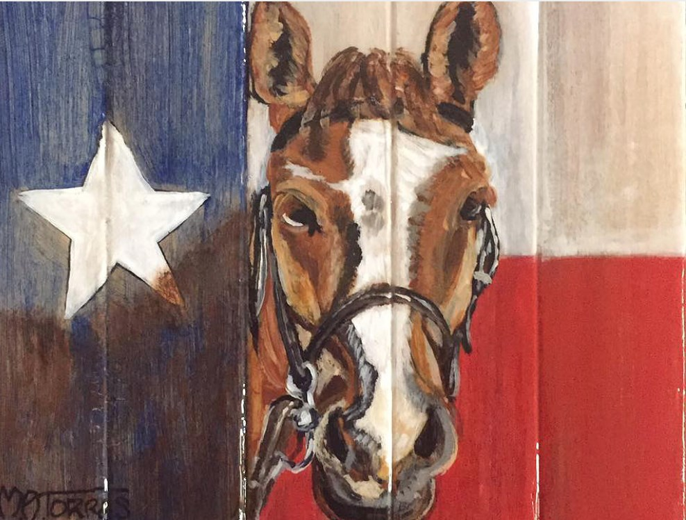 """Horse with Texas Flag"" original fine art by Melissa Torres"