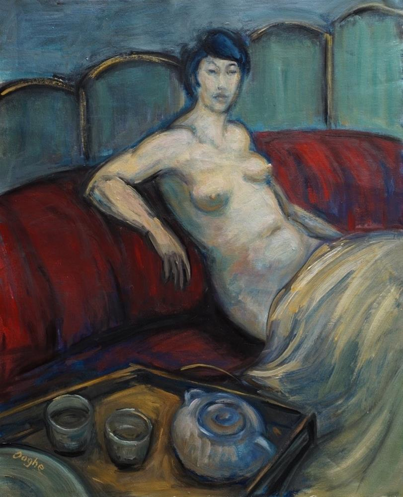 """Nude with Tea Tray"" original fine art by Angela Ooghe"