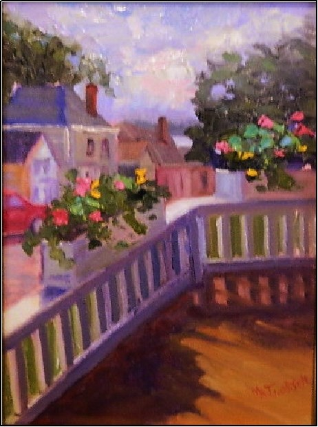 """View from the Pentagoet Inn, 9x12, oil on panel, Castine plein air festival, Pentagoet Inn, Castin"" original fine art by Maryanne Jacobsen"