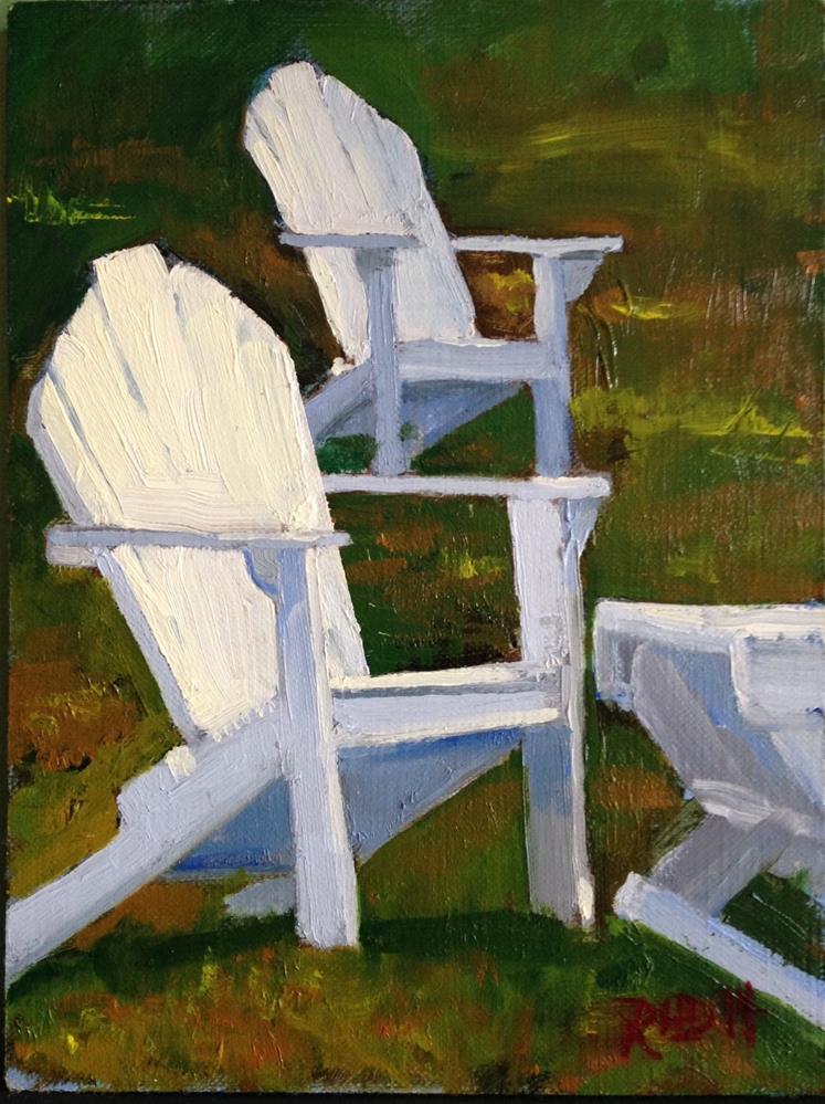 """Adirondack Chairs"" original fine art by Richard Doyle"