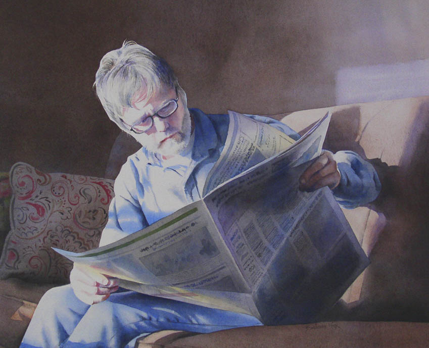 """EVENING NEWS watercolor portrait"" original fine art by Barbara Fox"