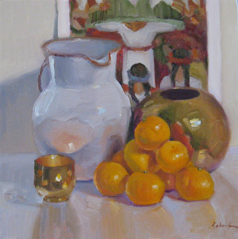 """Mandarin Orange Pyramid Framed art, on sale"" original fine art by Sarah Sedwick"