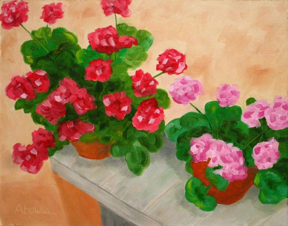 """Geraniums on the Shelf"" original fine art by Sandy Abouda"