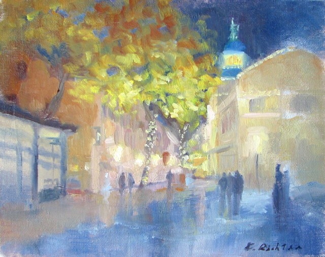 """Quincy Market, Illuminated"" original fine art by Keiko Richter"