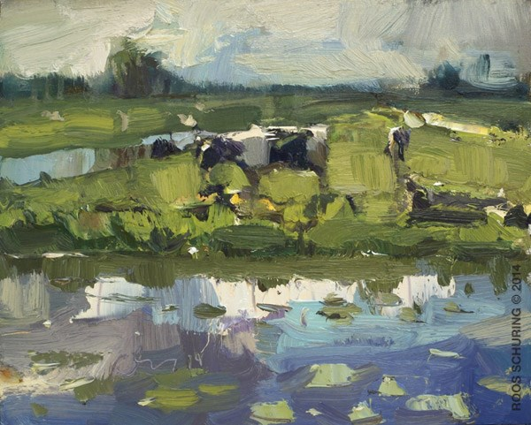"""Spring Light and a Cow – Painting cows – Koeien"" original fine art by Roos Schuring"