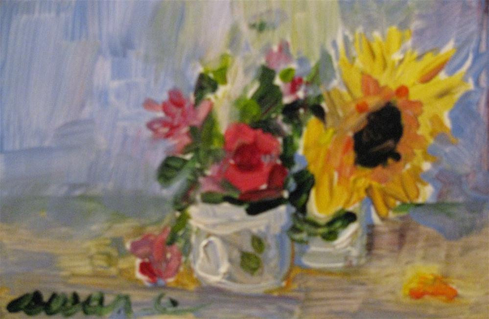 """Floral Miniature"" original fine art by Susan Elizabeth Jones"