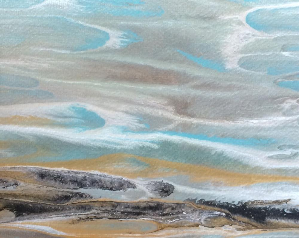 """Contemporary Abstract Seascape Art Painting,Coastal Decor Gulf Study #6 by Colorado Contemporary A"" original fine art by Kimberly Conrad"