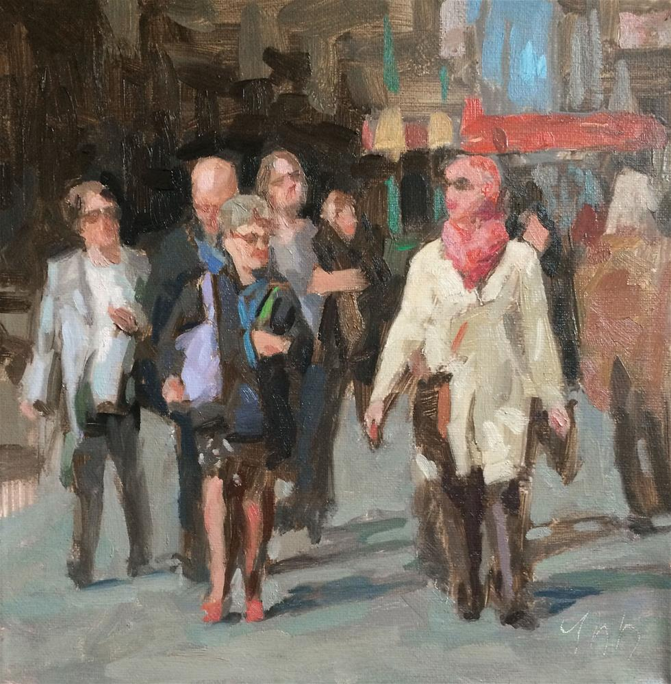 """New York Crowd"" original fine art by Yuehua He"