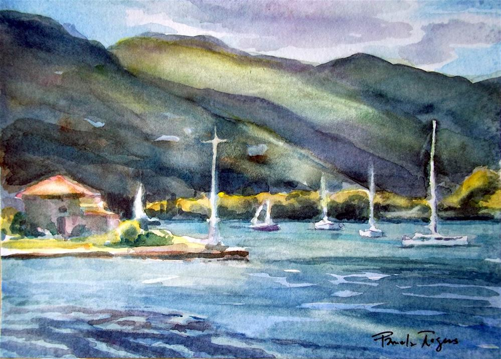 """Serenity on Poros Island"" original fine art by Pamela Jane Rogers"