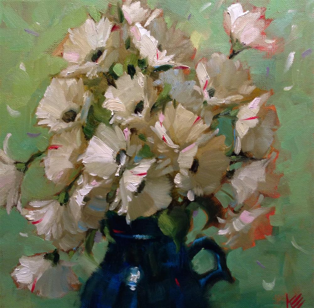 """Daisies in glass milk jug"" original fine art by Krista Eaton"