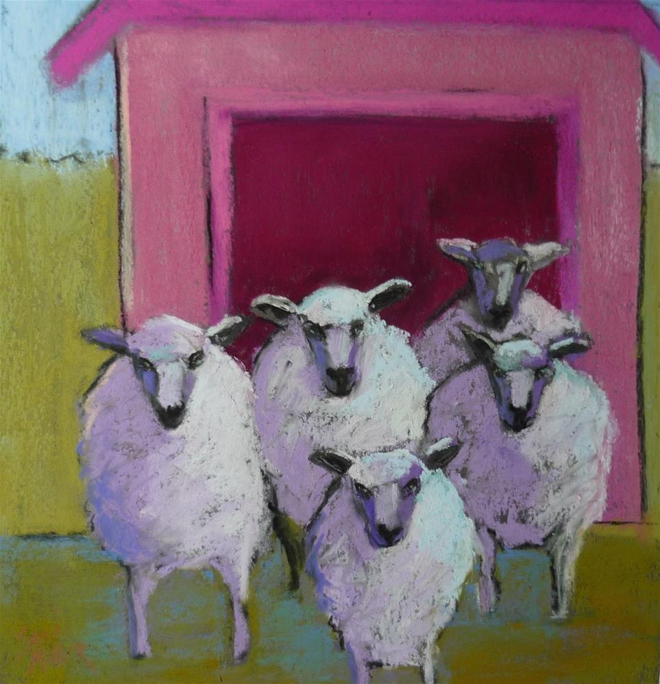 """Sheep with Pink Barn"" original fine art by Sandi Miller"