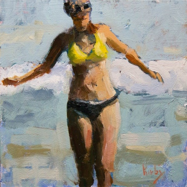 """Wading in Surf"" original fine art by Randall Cogburn"
