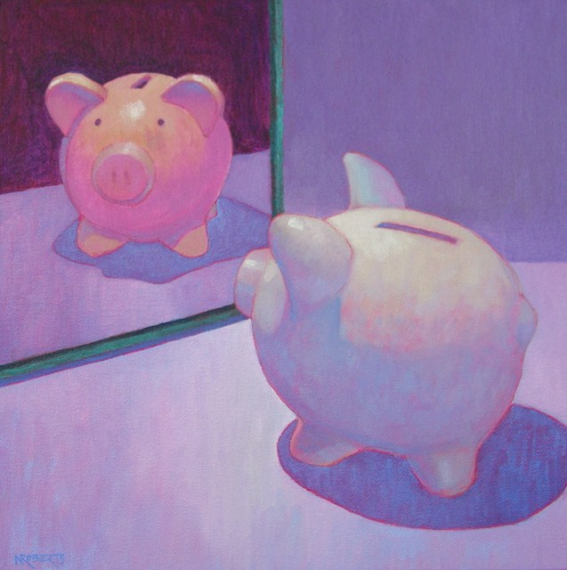"""Pig Reflects"" original fine art by Nancy Roberts"