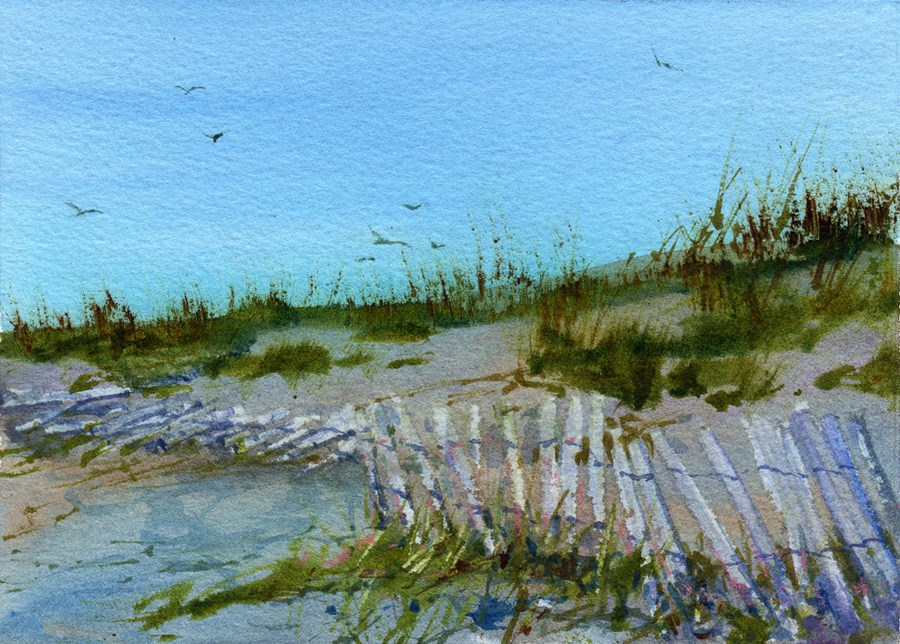 """Twilight on the Beach"" original fine art by Linda Henry"