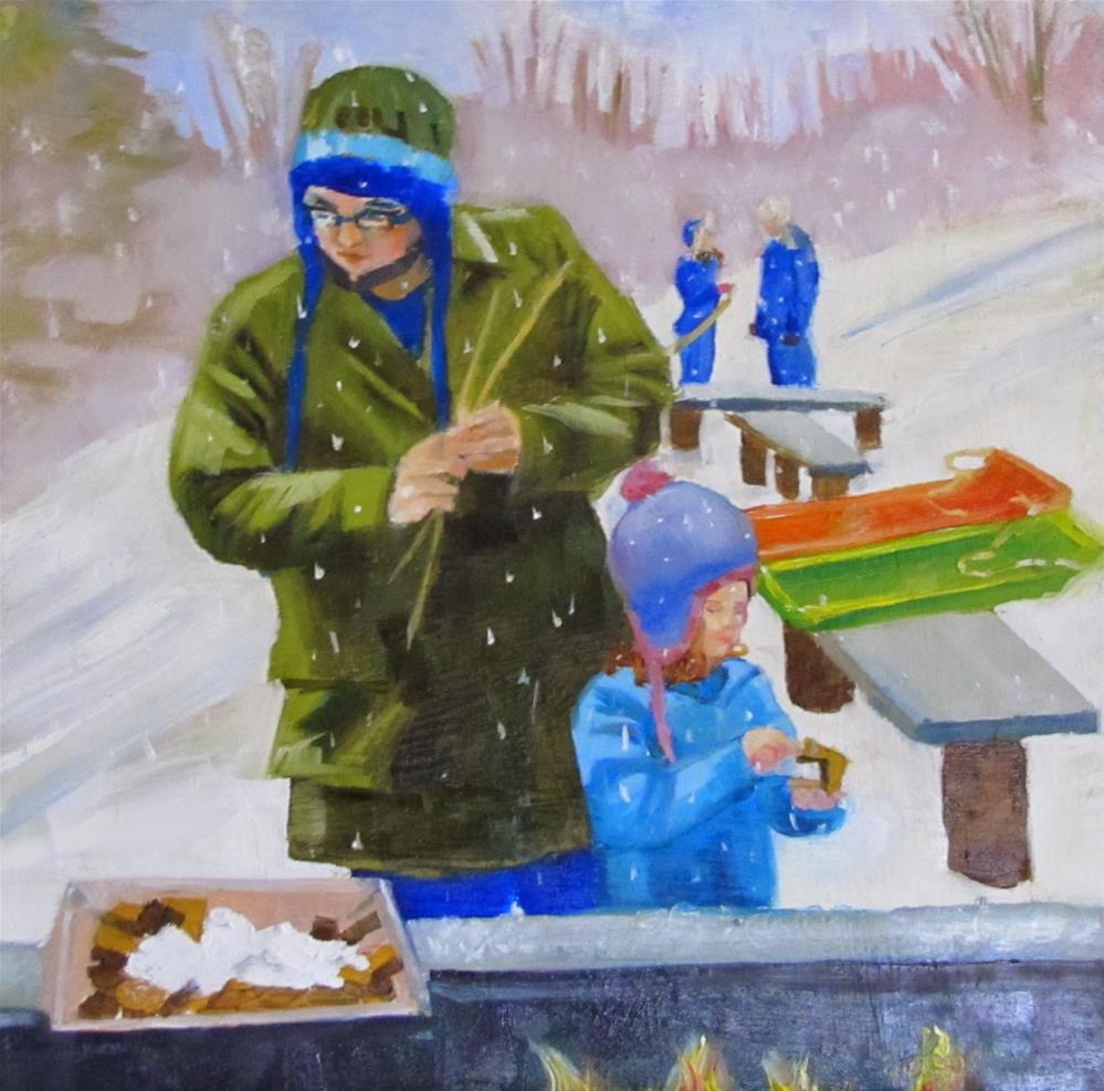 """S'mores and Sledding"" original fine art by Christine Holzschuh"