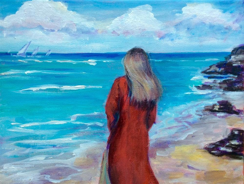 """Woman in red by the seaside painting"" original fine art by Sonia von Walter"