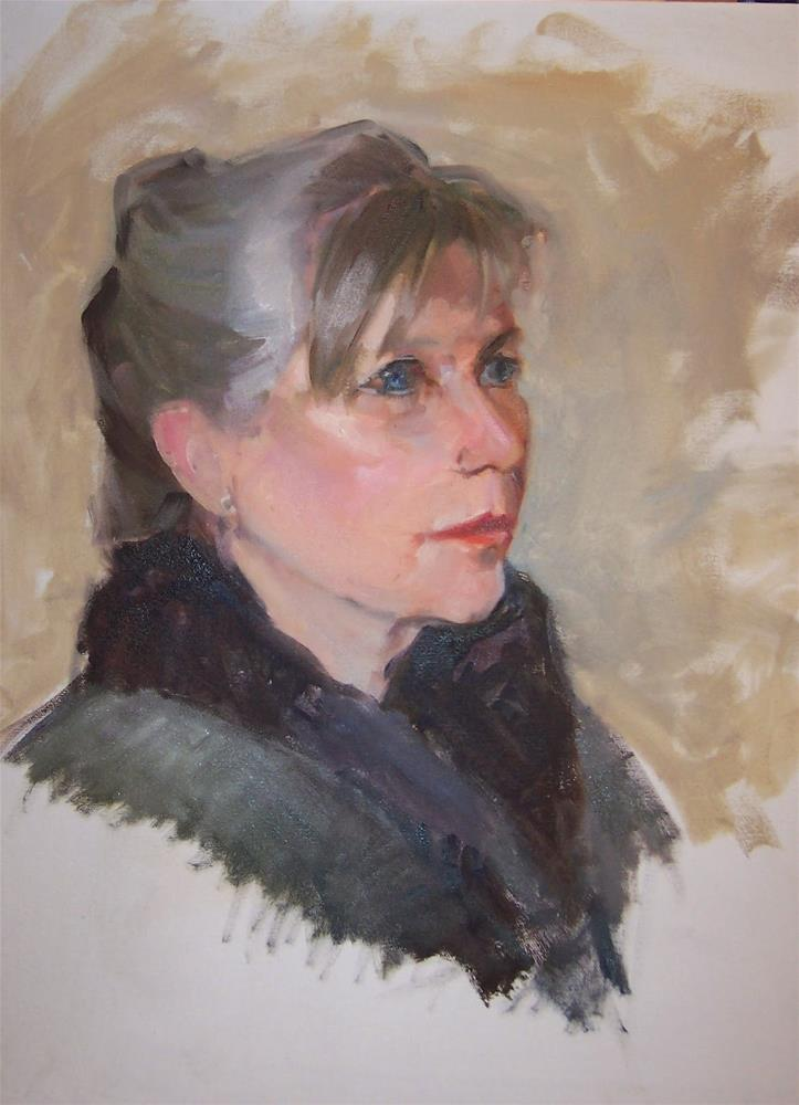 """Jan,portrait,oil on canvas,20x16,priceNFS"" original fine art by Joy Olney"