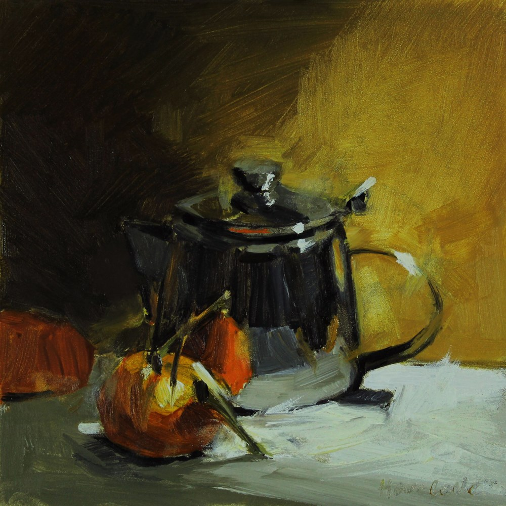 """Silver Pot and Oranges in Side Light"" original fine art by Gretchen Hancock"
