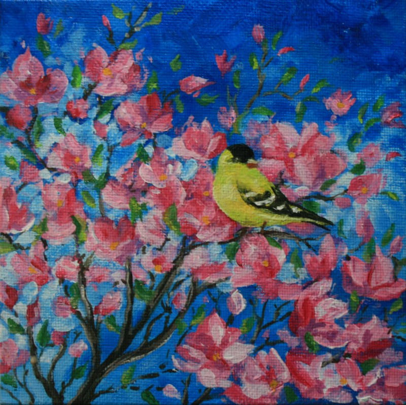 """Goldfinch in Crabapple Bush"" original fine art by Jean Nelson"