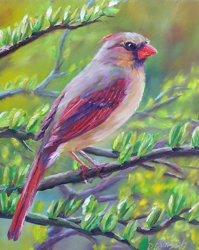 """Female Cardinal"" original fine art by Donna Munsch"