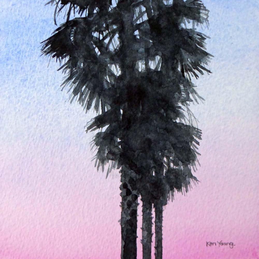 """""""South Beach Palms #2"""" original fine art by Ken Young"""