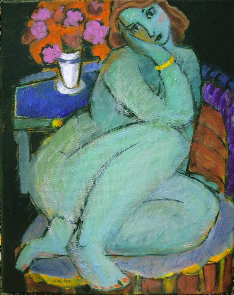 """Nude Woman, Flowers, figure study, figuration feminine, contemporary figure painter, seated woman, n"" original fine art by Marie Fox"